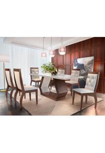 Conjunto De Mesa De Jantar Alvorada Com Vidro E 6 Cadeiras Tamara Suede Creme E Off White