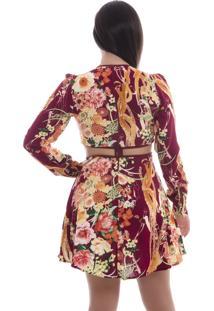 Vestido Rosa Fina Curto Estampado Vinho