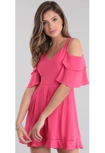 Vestido Patbo Open Shoulder Com Babado Pink