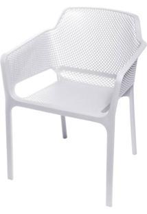 Cadeira Net Nard Empilhavel Polipropileno Com Braco Cor Branco - 53565 Sun House