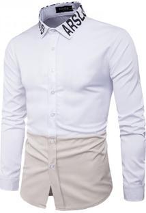 Camisa Masculina Slim Casual Bicolor Manga Longa - Branco E Bege