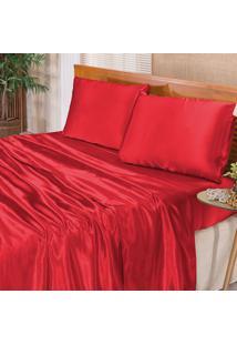 Jogo De Cama Cetim Romantic Vermelho Casal 04 Peã§As Dourados Enxovais - Vermelho - Dafiti