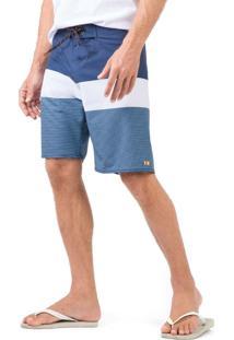 Boardshort Stretch Azul Marinho/Off White