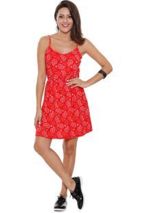 Vestido Feminino Alças Finas Estampa Floral Marisa