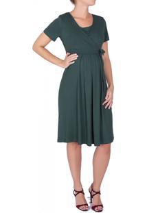 Vestido A Gestante Amamentação Laço Verde