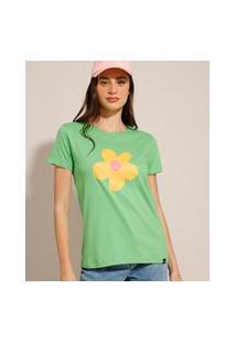 Camiseta Oversized De Algodão Flor Manga Curta Decote Redondo Verde