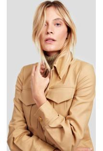 Jaqueta De Alfaiataria Com Bolsos Frontais Diana Camel Maple - 44
