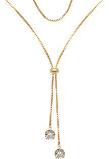 Gargantilha Prata Mil Gravatinha C/ 2 Pedras Strass Dourado