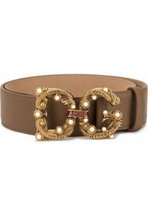 Dolce & Gabbana Cinto Com Logo E Aplicação - Marrom