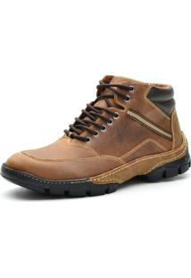 Bota Cano Curto Casual Over Boots Absolut Couro Caramelo