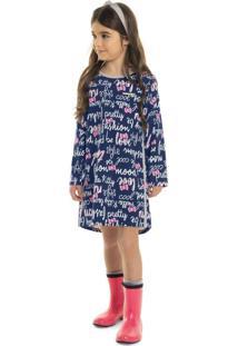 Vestido Hello Kitty Infantil Azul - Tricae