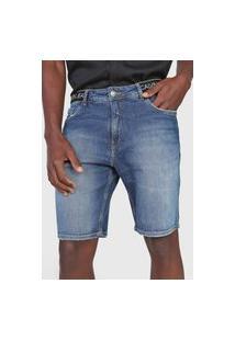 Bermuda Jeans Calvin Klein Jeans Reta Estonada Azul