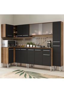Cozinha Completa De Canto Madesa Emilly Space Com Armã¡Rio Vidro Miniboreal, Balcã£O E Paneleiro Marrom - Marrom - Dafiti