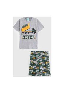 Pijama Kyly Curto Infantil Caminhão Cinza/Verde