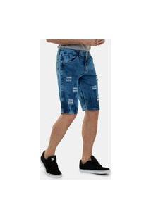 Bermuda Jeans Ignis Rasgada Destroyed Premium Masculino Azul Escuro