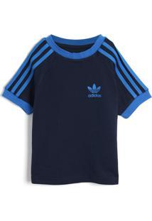 Camiseta Adidas Originals Menina Frontal Azul-Marinho