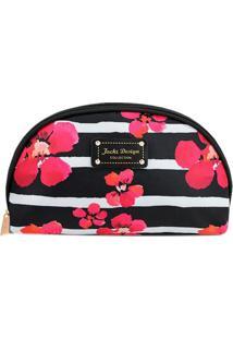 Nécessaire Floral Com Tag- Preta & Vermelha- 22X13X7Jacki Design