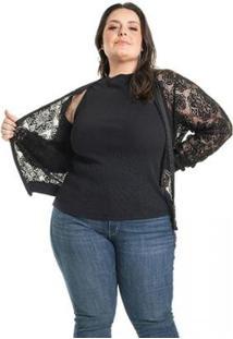 Jaqueta Plus Size Em Renda Miss Masy Plus Feminina - Feminino