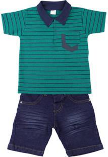 Conjunto Infantil Camiseta Malha Ano Zero House Of Cards Com Gola E Bermuda Índigo Verde