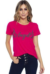 T-Shirt Cavallari Angel Bordada A Mão Pink