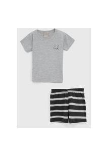 Pijama Carinhoso Curto Infantil Listrado Cinza/Preto