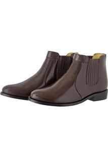 Bota Pessoni Boots & Shoes Social Em Couro Com Elastico Lateral Marrom