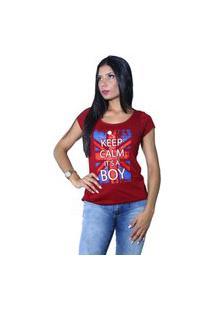 Camiseta Heide Ribeiro Keep Calm It'S A Boy Vinho