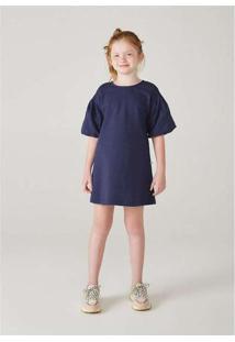 Vestido Infanti Menina Com Mangas Bufantes Azul