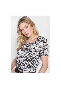 Camiseta Calvin Klein Jeans Animal Print Off-White/Preta