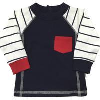 Camiseta Bebê Manga Longa América Baby Pima 100% Algodão Pima Azul-Marinho eca5bda58d3