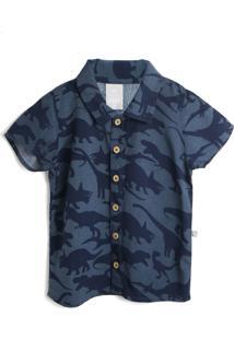 Camisa Hering Kids Menino Dinossauro Azul