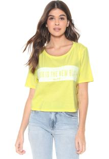 Camiseta Cropped My Favorite Thing(S) Neon Lettering Amarela