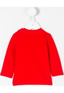 Moschino Kids Blusa Com Logo Estampado - Vermelho