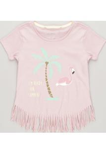 Blusa Infantil Flamingo Com Glitter E Franjas Manga Curta Decote Redondo Rosê