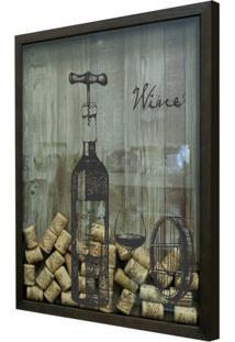 Quadro Porta Rolhas 32X42X4Cm Wine Garrafa Betume