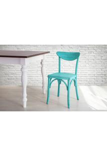 Cadeira Anatômica De Madeira Torneada Azul Amélie - 44,5X45X81 Cm
