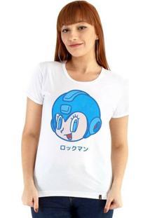 Baby Look Ouroboros Manga Curta Vintage Mega Man - Feminino-Branco