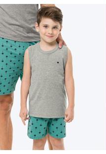 Pijama Cinza Estampado Com Bordado Infantil Tal Filho