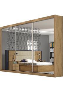 Guarda-Roupa Toronto - 3 Portas - Com 3 Espelhos - 100% Mdf - Amêndoa