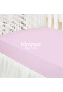 Lençol Para Berço - 1 Peça - Malha Liso Rosa - Biramar