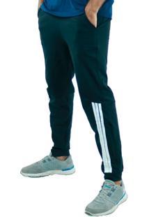 Calça Suplex Aveludada Bravaa Modas Listras Laterais Skinny Slim 310 Preta