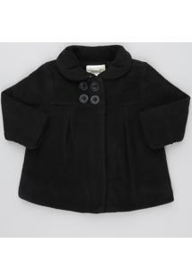 Casaco Infantil Com Botões Em Fleece Preto