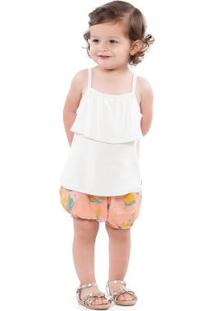 Conjunto Blusa Branca E Short Floral Laranja