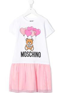 Moschino Kids Vestido Com Mesh - Branco