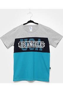 Camiseta Infantil Pulla Bulla Los Angeles Masculina - Masculino-Cinza