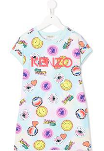 Kenzo Kids Vestido Janessa Com Estampa - Azul