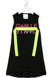 Gaelle Paris Kids Vestido Com Logo E Brilho - Preto