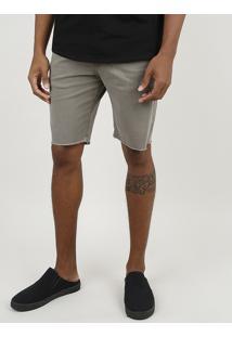 Bermuda De Sarja Masculina Slim Com Cordão E Bolsos Verde Militar