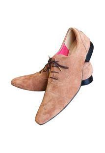 Sapato Masculino Italiano Em Camurça Oxford Ref: 899 Marrom