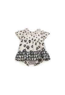 Vestido Para Bebê Fábula Em Algodão Estampado Com Calcinha Embutida Est Chuvisco Off - G